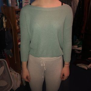 Mint green cropped sweater with cute back